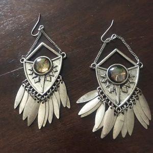 Jewelry - Dangle Silver Plated Earrings Shield Shape Feather